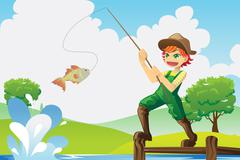 Boy going fishing Stock Illustration