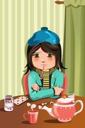 Sick little girl - stock illustration
