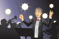 Orchestra conductor - stock illustration