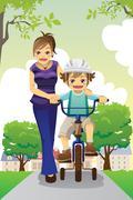 Stock Illustration of Mother teaching son biking