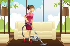Housewife vacuuming carpet Stock Illustration