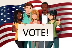 Voting people - stock illustration