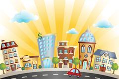 Cartoon cityscape - stock illustration