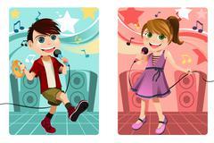 Kids singing karaoke - stock illustration