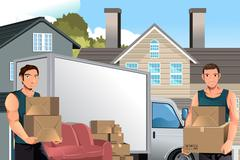 Moving men with truck and boxes - stock illustration