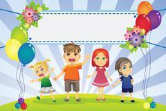 Fun family banner - stock illustration