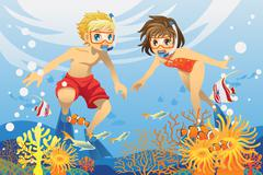 Kids swimming underwater - stock illustration