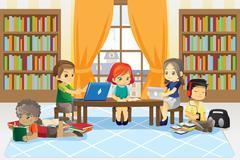Children in library - stock illustration