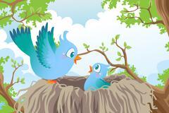 Birds in nest - stock illustration