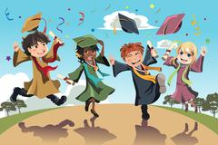 Graduation celebration - stock illustration