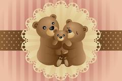 Bear family hugging - stock illustration