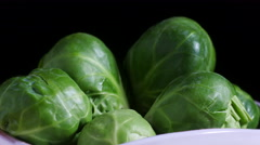 Bowl of Brussels sprouts Stock Footage