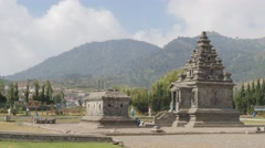 Arjuna complex ancient hindu temples,Dieng,Java,Indonesia Stock Footage
