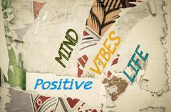 Stock Illustration of Inspirational message - Positive Mind, Vibes, Life