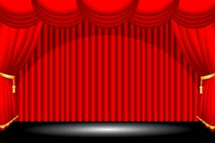 Red stage background - stock illustration