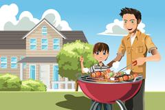 Father and son doing barbecue Stock Illustration