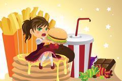 Girl eating junk food Stock Illustration