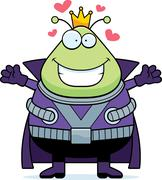 Cartoon Martian King Hug - stock illustration