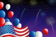 Fourth of July fireworks - stock illustration
