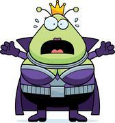 Scared Cartoon Martian Queen - stock illustration