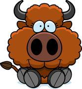 Cartoon Buffalo Sitting Piirros