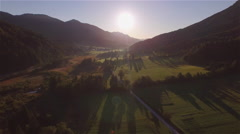 AERIAL: Picturesque mountain valley in misty sunny morning - stock footage