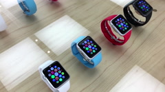 Motion of display new iwatch inside Apple store Stock Footage