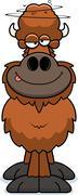 Drunk Cartoon Buffalo - stock illustration