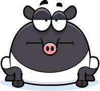 Bored Cartoon Tapir - stock illustration