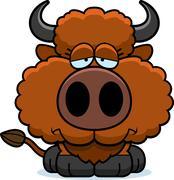 Cartoon Sad Buffalo Piirros