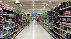 Beverages corridor in Save on Foods. Stock Footage