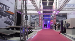 4k Stage building and construction fair exhibition Stock Footage