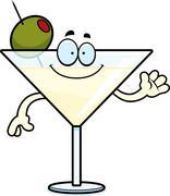 Cartoon Martini Waving - stock illustration