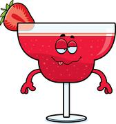 Drunk Cartoon Strawberry Daiquiri - stock illustration