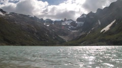 View of Laguna Esmeralda (Emerald lake) at Tierra del Fuego island, Argentina Stock Footage