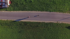 AERIAL: Flying above the woman walking her dog Stock Footage