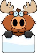 Cartoon Moose Sign Piirros