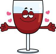 Cartoon Wine Hug - stock illustration