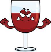 Angry Cartoon Wine - stock illustration