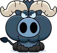 Cartoon Sly Little Blue Ox - stock illustration