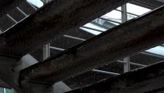 Rain dripping on steel rusty platform,ladder,slow motion Stock Footage