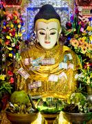 Buddha Statue Covered in Money Offerings at Mount Popa, Bagan, Myanmar Stock Photos