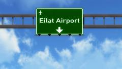 4K Passing Eilat Israel Highway Airport Sign with Matte 4 stylized Stock Footage