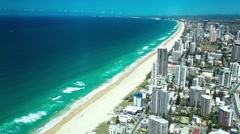 Aerial view of the Gold Coast in Australia looking from Surfers Paradise Stock Footage