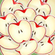 Apples slices pattern - stock illustration