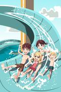 Kids playing in water slides - stock illustration