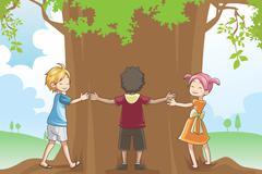 Kids hugging tree Stock Illustration