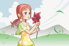 Girl blowing pinwheel Stock Illustration