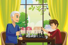 Grandfather and grandson playing chess - stock illustration