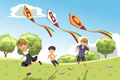 Kids with alphabet kites - stock illustration